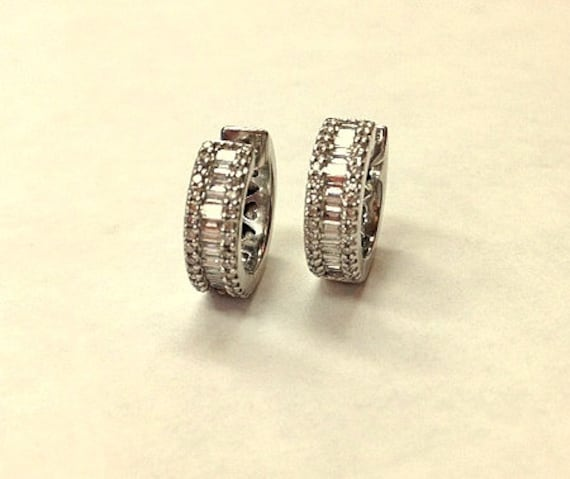 Vintage Diamond Hoop Huggie Style Earrings - State
