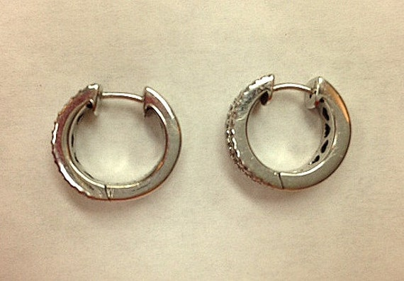Vintage Diamond Hoop Huggie Style Earrings - Stat… - image 3