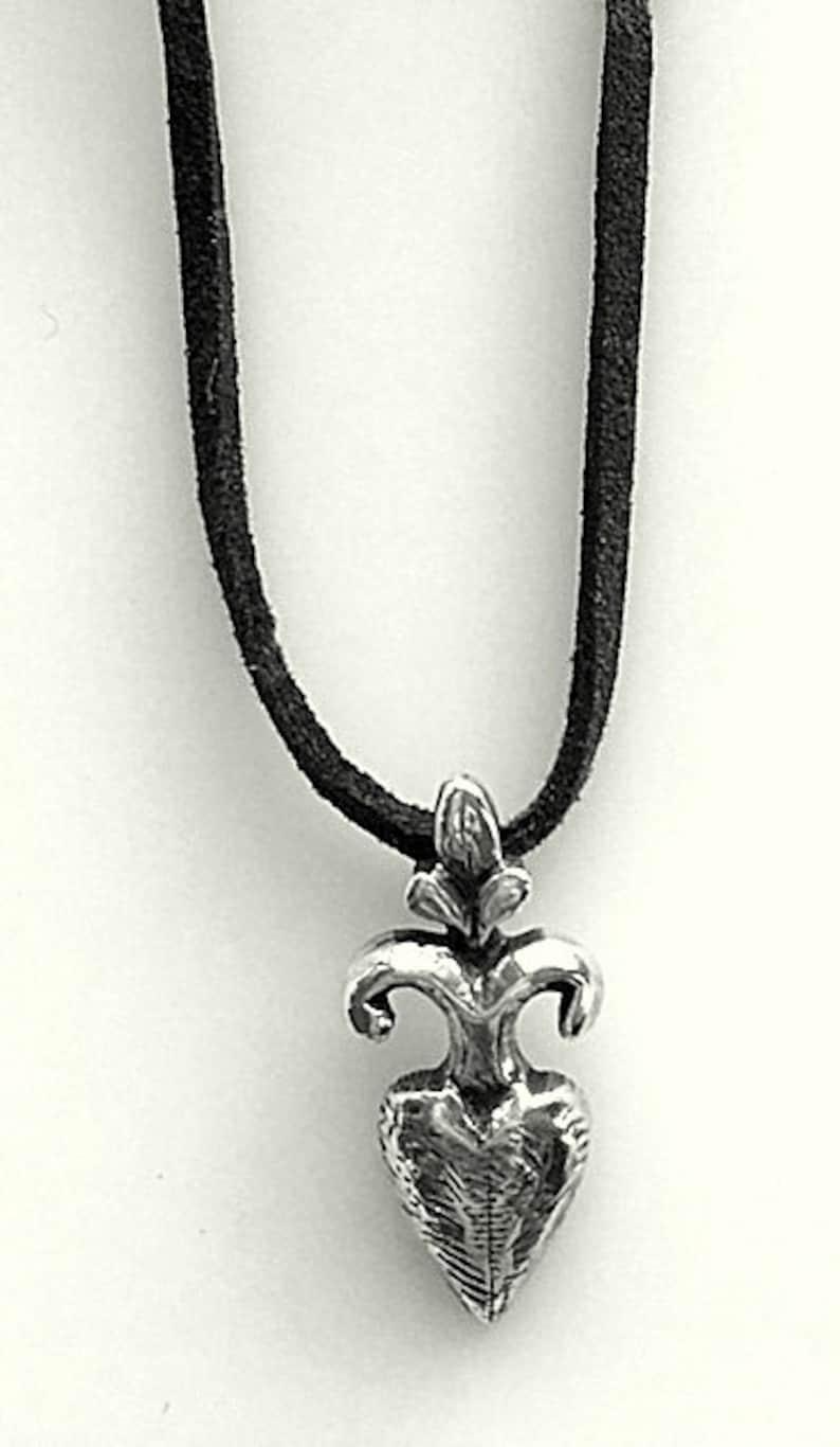 Unisex Sterling Pendant Signed Stylized and Oxidized Fleur De Lis Pendant Artisan Sterling Silver Fleur De Lis Pendant