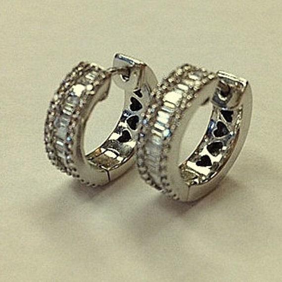 Vintage Diamond Hoop Huggie Style Earrings - Stat… - image 2