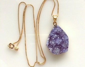 Lavender Agate Druzy With Gold Necklace