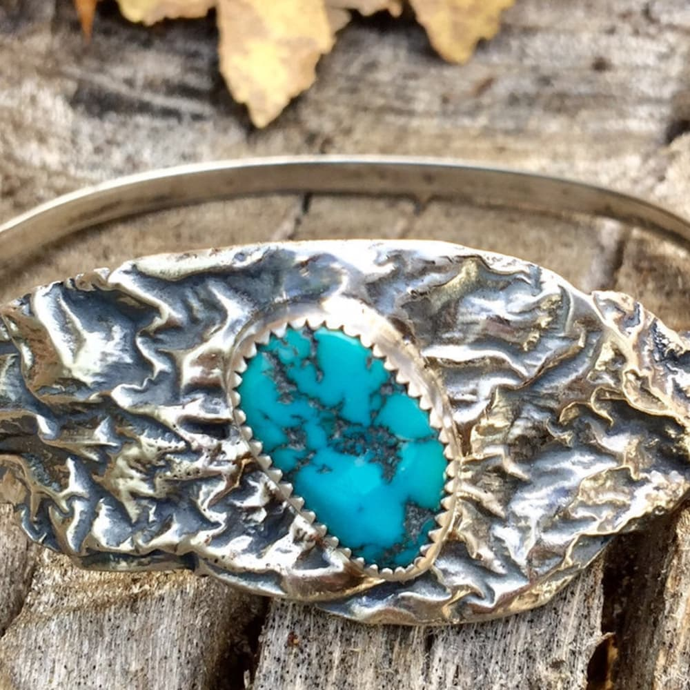 Silver Reticulated Bracelet with Turquoise Cabachon image 0