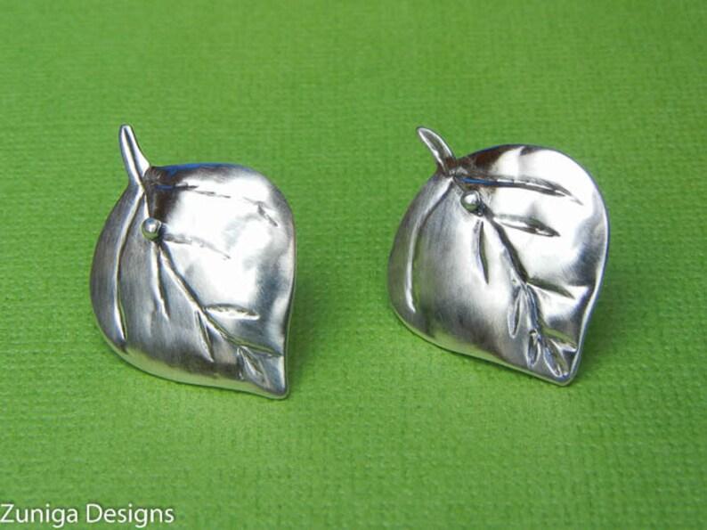 Aspen Leaf Earrings 3/4 x 1-1/8 21mm x 28 mm image 0