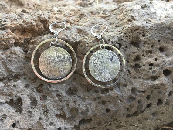 Solar Eclipse Round with Circle Silver  Earrings