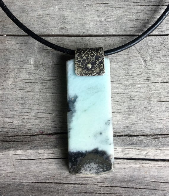 Blue Peruvian Opal Necklace Pendant with Leather Cord with Sterling Silver Bail Unisex