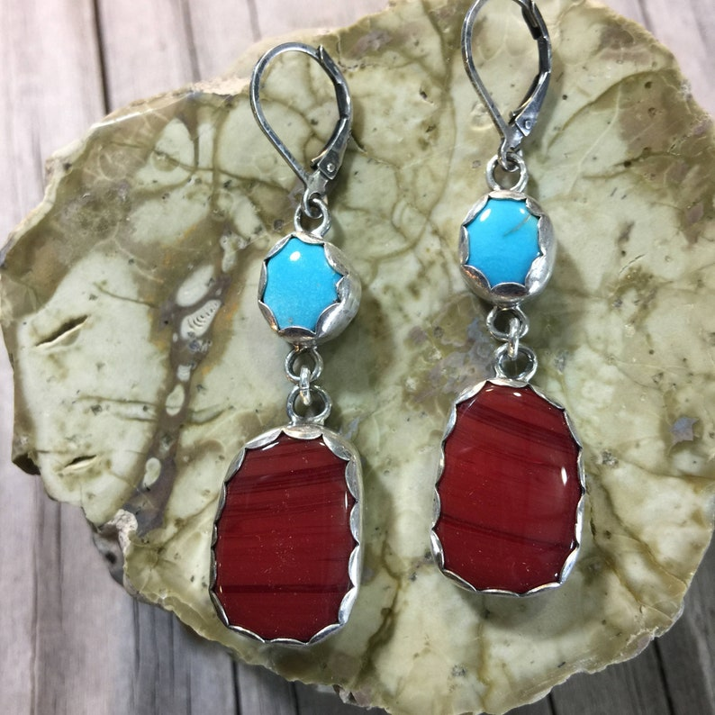 Turquoise and Rosarita Red Sterling Silver Drop Earrings image 0