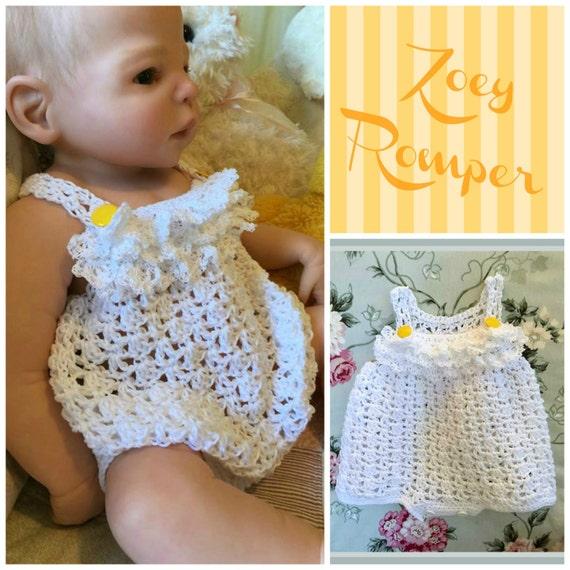 Zoey Romper Crochet PDF Pattern Size 0/3 6/9 12 and 24 | Etsy