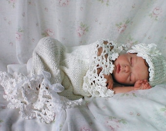 Snow Baby Cocoon and Hat Knit with Crochet Lace Pattern