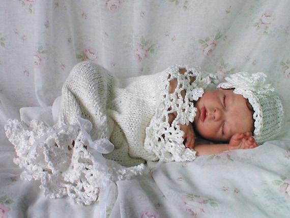 Snow Baby Cocoon und Hut mit Häkelspitze Muster gestrickt | Etsy