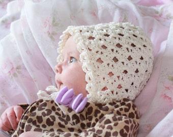 Alaina Crochet Baby Bonnet Pattern - Sizes Newborn, 6 Mo, 12 Mo, Toddler, Child