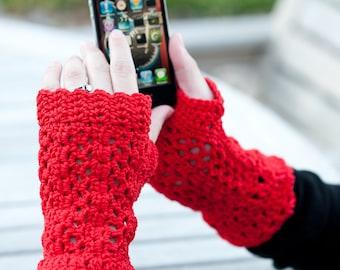 La Villa Lace Fingerless Gloves Pattern  / Cotton Crochet Women Teen