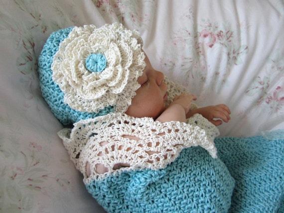 Crochet Baby Cocoon and Hat Pattern Photo Prop Pattern Seaside ...