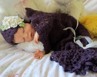 Sugar Plum Snuggle Sack and Hat Crochet Baby Cocoon and Hat Pattern Photo Prop Pattern