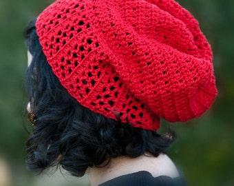 La Villa Lace Brim Slouch Hat Pattern  / Cotton Crochet Women Teen Cloche