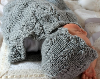 Knit Baby Cocoon and Hat Pattern Photo Prop Pattern Bee Tree Snuggle Sack, Bonnet and Hat