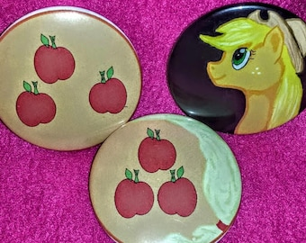Apple Cutie Button Set, 2.25 inch buttons set of 3