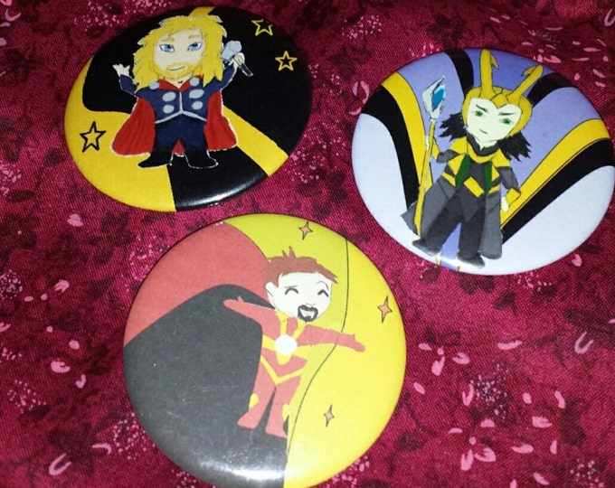 Super Heroes and Villains M1 set of 3 Buttons