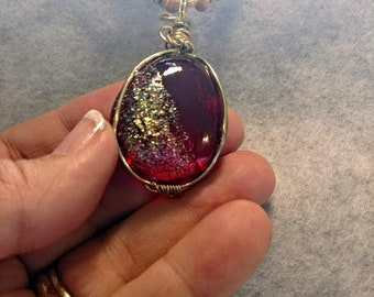 Ruby glass Wraped pendant