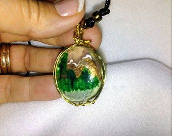 Painted Glass Wire Wrapped Pendant