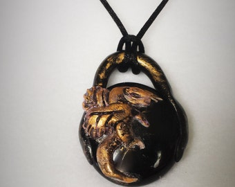 Sleeping Golden Dragon on Black glass pendant #107 handmade