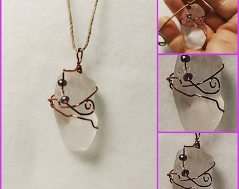 Frosted Sea Glass Wrapped Pendant