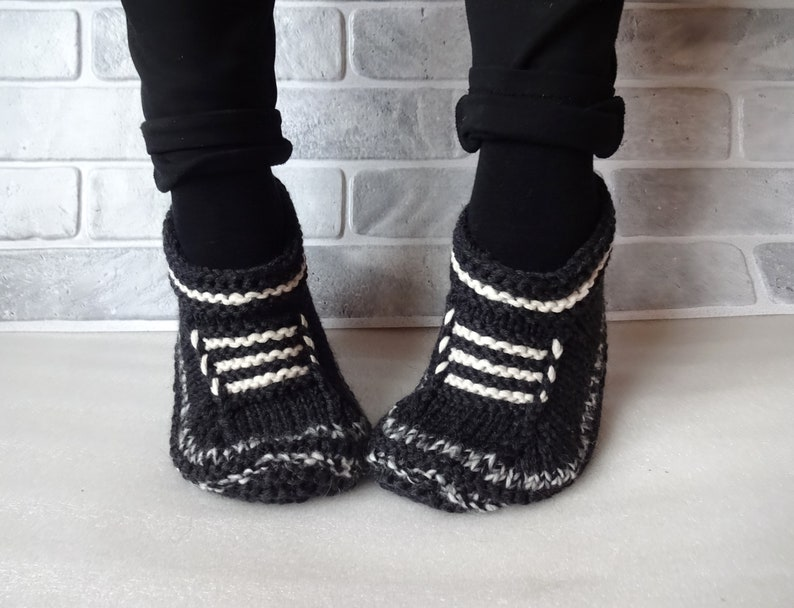 d451864448df9 Hand Knitted Slippers Black White Woman Wool Slippers