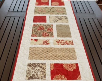 Quilted table runner in French General by Moda fabrics