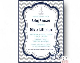 Nautical Baby Shower Invitation Boy - Printable Nautical Baby Shower Invites - Ahoy Its a Boy Invitation - Ahoy Its a Boy Baby Shower Invite