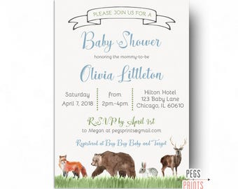 Woodland Baby Shower Invitation Boy - PRINTABLE Woodland Shower Invites - Forest Friends Baby Shower Invitation - Forest Animals Baby Shower