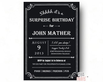 Adult Surprise Birthday Invite
