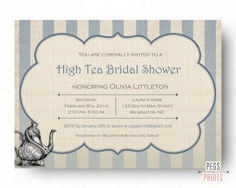 5 x 7 inch tea party invitation birthday invitation garden etsy