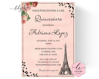 Shabby Chic Quinceanera Invitacion Paris Imprimible Etsy