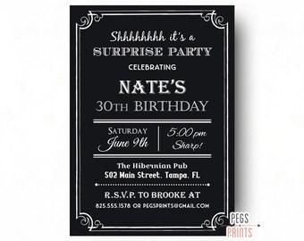 Adult Surprise Birthday Invite Male Birthday Invitations Etsy