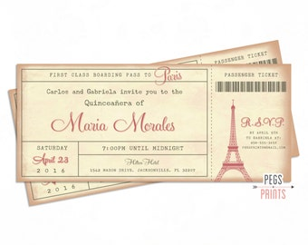 Paris Quinceanera Invitation 3x7