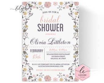 91e02dad2707 Floral Bridal Shower Invitation - Printable Bridal Shower Invitation - Elegant  Bridal Shower Invitation - Shabby Chic Bridal Shower Invite