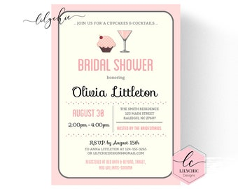 pink cupcakes and cocktails invitation printable desert bridal shower invitation cupcakes and cocktails bridal shower invitation