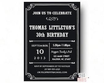 40th birthday invitation for men printable birthday etsy