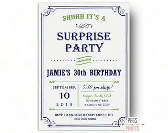 Adult Surprise Birthday Invite Male Invitations