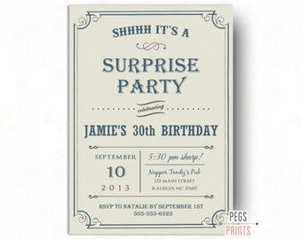 Adult Surprise Birthday Party Invites Printable