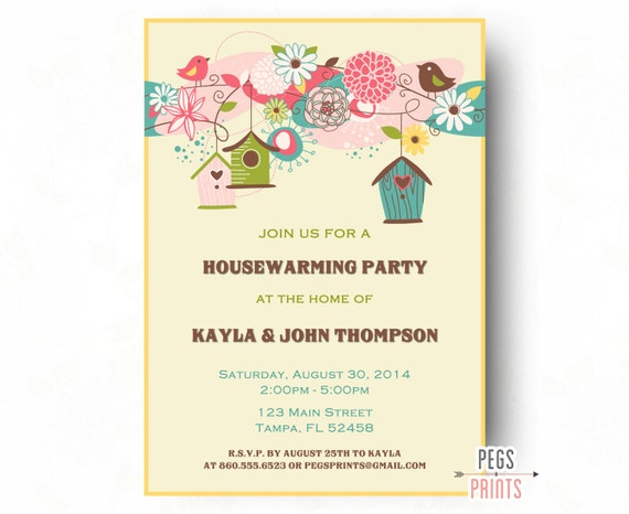 Birdhouse Housewarming Party Invitation Bird Housewarming