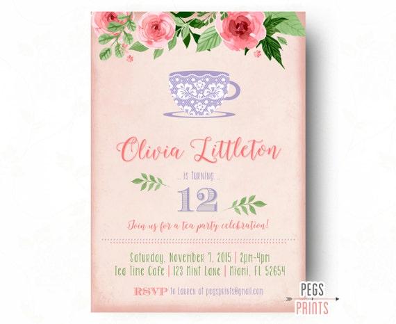 Tea Party Birthday Invitation Printable Lace