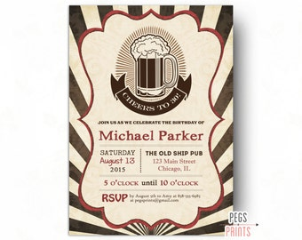 Cheers to 30 Years Birthday Invitation - Cheers and Beers to 30 Years Birthday Invitation Male (Printable) 30th Birthday Invitation for Him