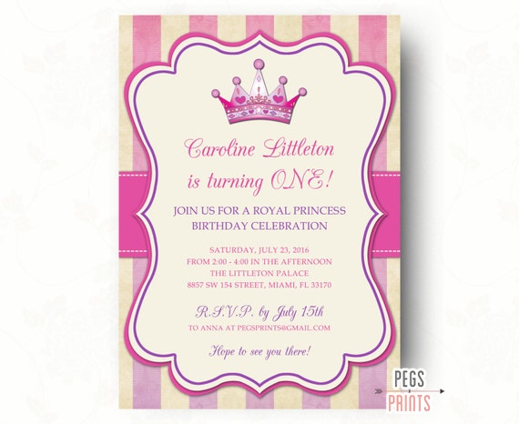 Items Similar To Royal Princess Birthday Invitation Party Printable Invites On