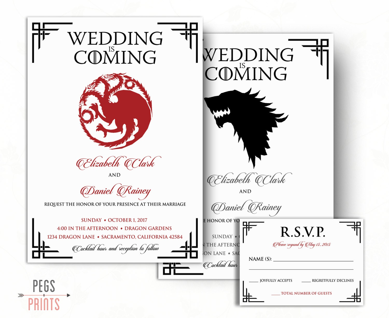 Dragon Wedding Invitation and RSVP Card Wolf Wedding   Etsy