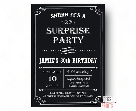 Adult Surprise Birthday Invitation Black Surprise Party Invitation