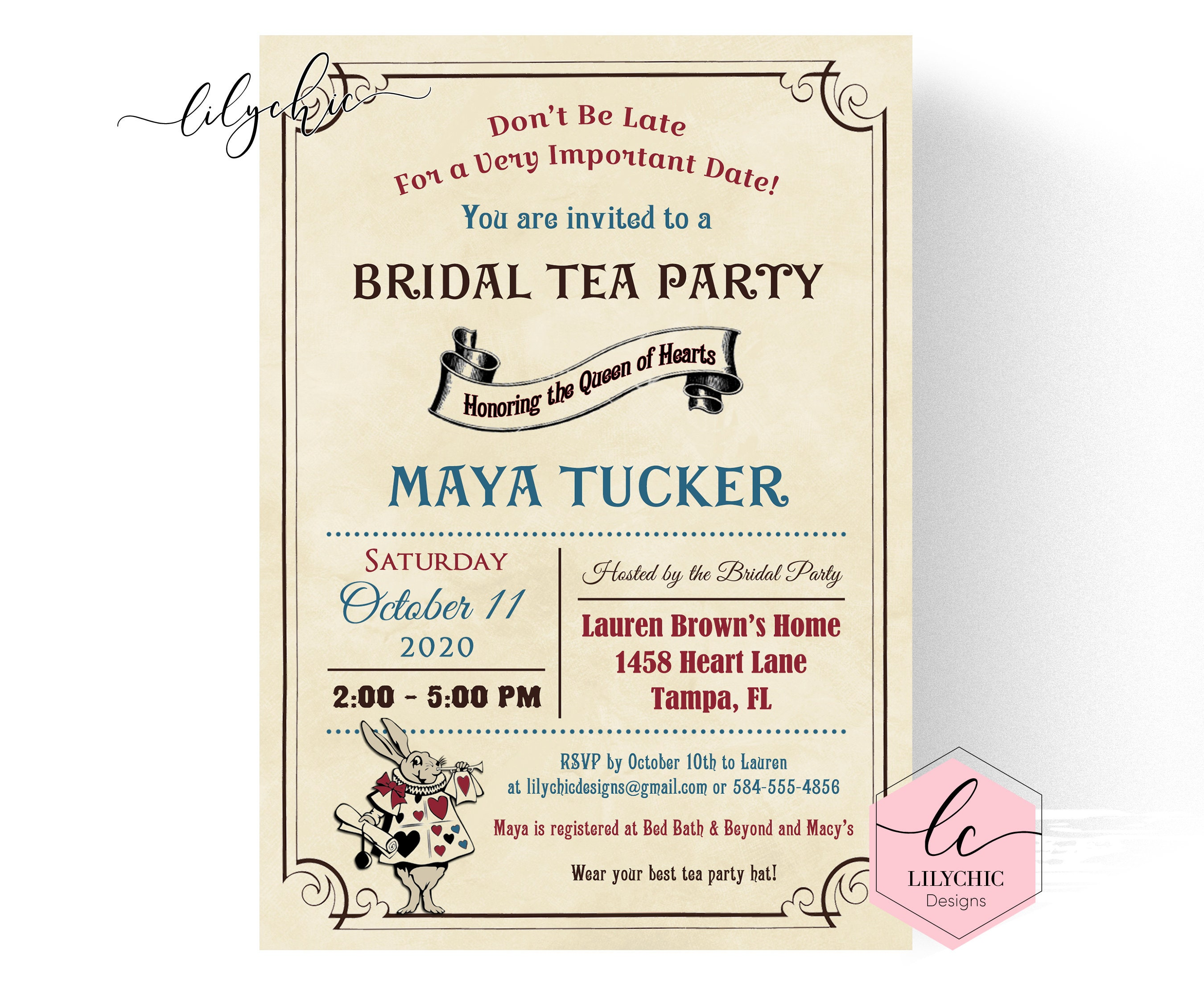 Vintage Mad Hatter Bridal Shower Invitation Printable Queen Etsy