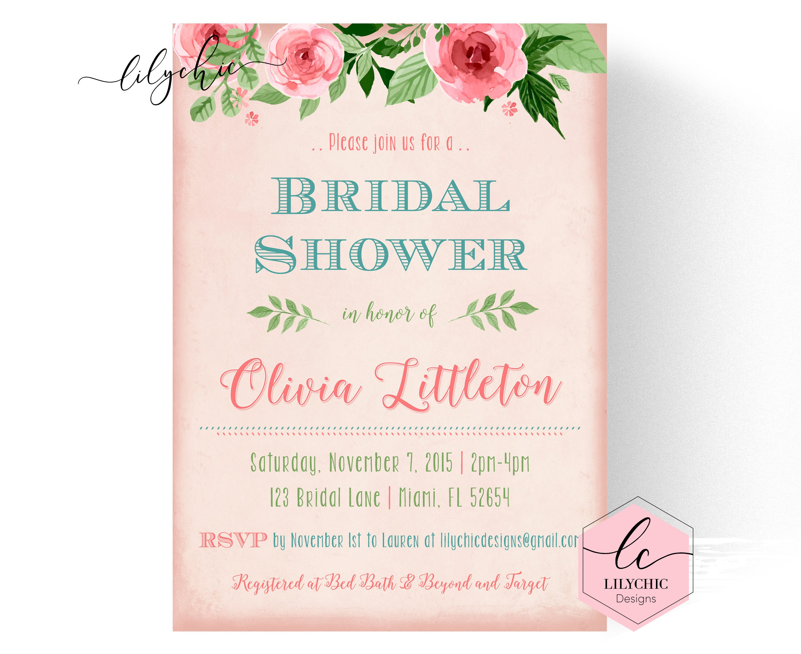 It's just a picture of Printable Bridal Shower Invitations with blue