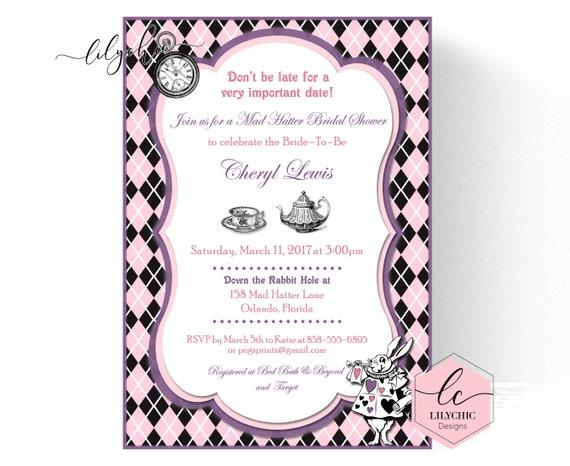 mad hatter bridal shower invites printable mad hatter tea party