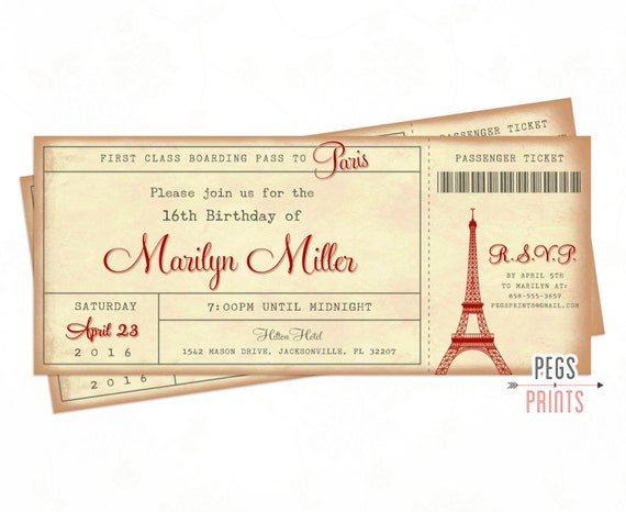 Paris Ticket Invitation 3x7 Paris Boarding Pass Invite Paris