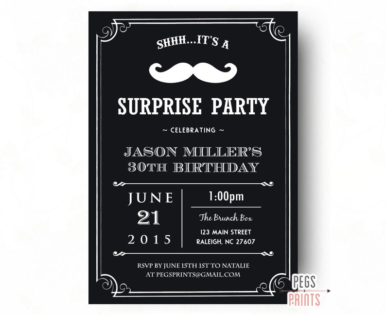 Adult Surprise Birthday Invites Surprise 30th Birthday Etsy